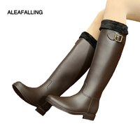 Aleafalling Winter Spring Soft Leather Knee high Rain Boots Buckle PU Waterproof Motorcycle Bowtie Ankle Mature Woman Shoes w061