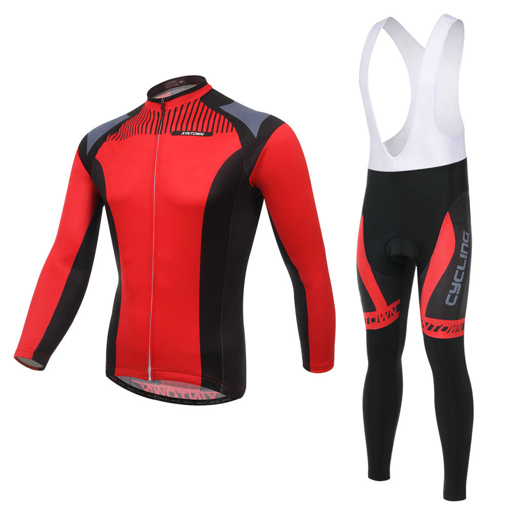 BOODUN Red Sickle Riding Suit Straps Long Sleeve Suit Bicycle Serve Catch Down Windbreak Keep Warm Function Underwear
