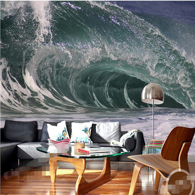 Wall Wallpaper 3d Wall Art Background Photography Artistic Ocean Sea Spray  Hotel Bedroom Mural Custom Painting