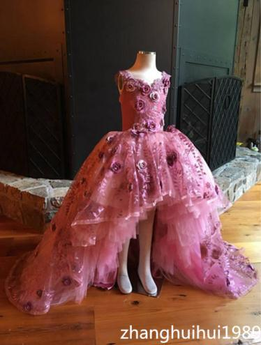 Flower     Girl     Dress   for Wedding Satin Lace Appliques Beaded Ball Gown   Girl   Party Communion   Dress   Pageant Gowns