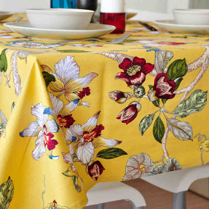 Europe Retro Table Cloth Floral Printed Rectangular Table Cover Lace Edge Tablecloth For Wedding Hot Sale