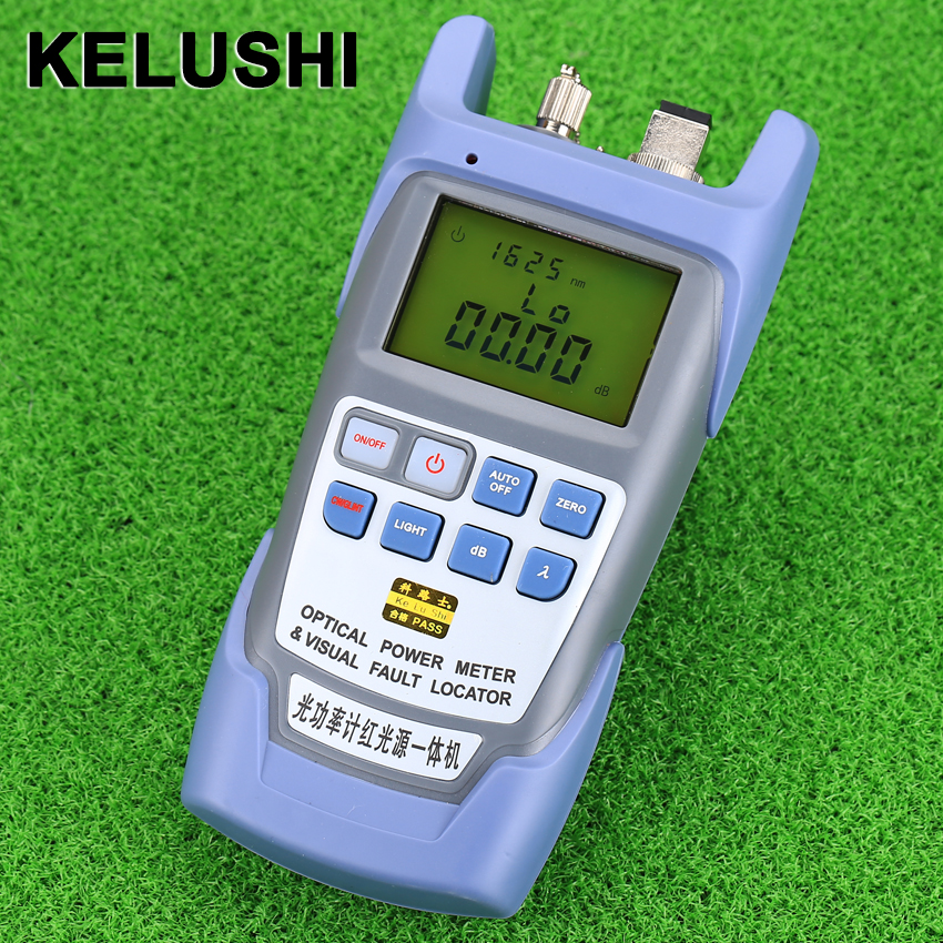 KELUSHI All-IN-ONE FTTH Fiber Optical Power Meter -70 til + 10dbm og 10mw 10 km Fiberoptisk kabel Tester Visual Fault Locator