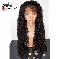 Sunnymay Синтетические волосы на кружеве человеческих волос парики испанский волна Brazlian Девы человеческих волос спереди парики шнурка с ребен