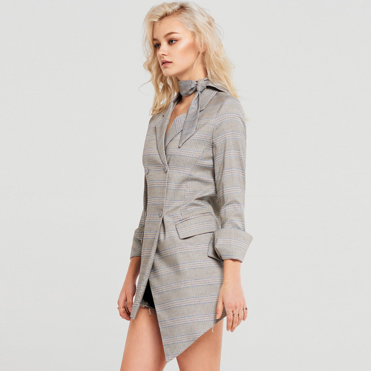 American Fashion Contracted Commuter Irregular Plaid Skirt Restoring Ancient Ways In The Long Leisure Suit Winter Clothes Women