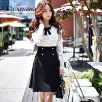Dabuwawa Black White Elegant Hollow Out Lace Bow Dress Women Vintage Dress 2018 Autumn Long Sleeve Short Dress Vestidos