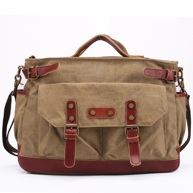 Men s Casual Vintage Canvas Cowhide Leather Rucksack Messenger Bag School Crossbody Shoulder Bag Briefcase Tote