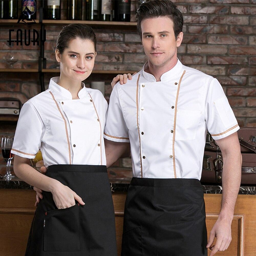 Men's New 2019 Chef Work Jackets Mesh Patchwork Back Breathable Restaurant Kitchen Cooking Uniform Barber Shop Bar Waiter Tshirt