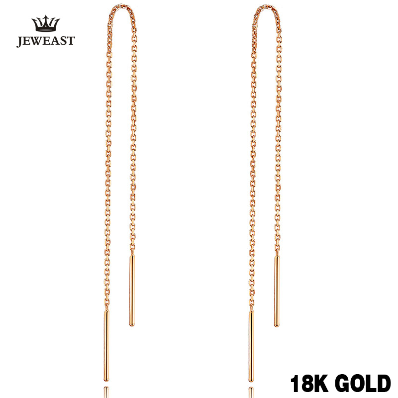 18k Pure Gold Line Earrings Tasteful Fashion Simple Classic Individuality Jewelry Women Girl Miss Gift New Hot Sale Good Nice