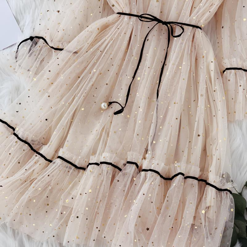 HISUMA spring autumn new women Star sequins gauze flare sleeve lace-up Princess dress female elegant o-neck mesh puff dresses 7