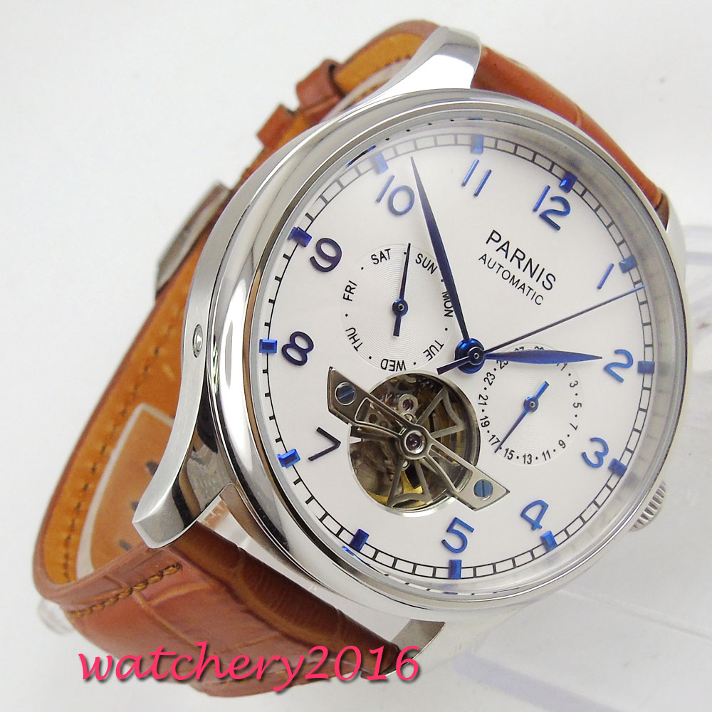 New Parnis 43mm White dial Complete Calendar Blue Marks power reserve Automatic self-wind Movement Men's Watch relogio masculino hot sale 46mm parnis black dial power reserve white marks automatic men wrist watch