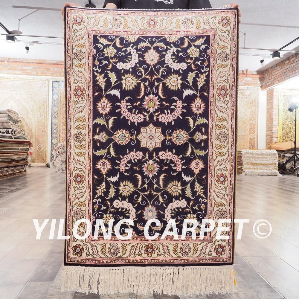 YILONG 2'x3 'tapis de soie persan bleu foncé fait à la main exquis motifs de tapis turc (LH410B2x3)