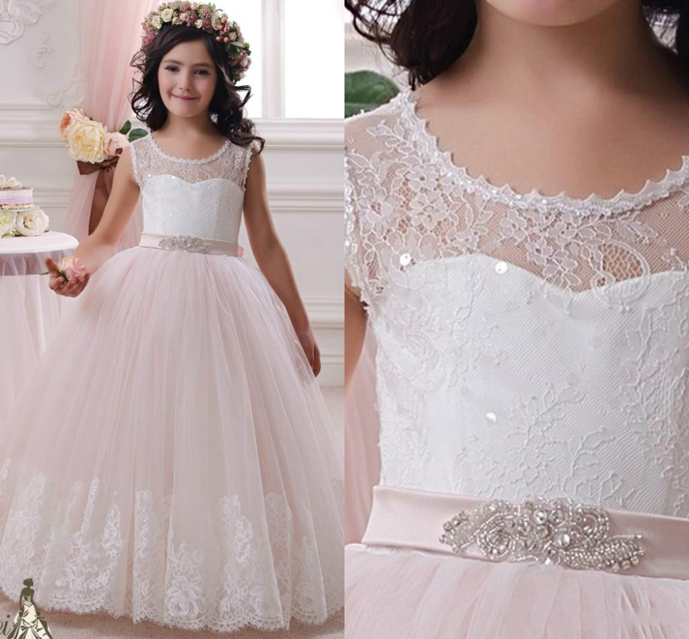 New Girls White Beaded Embroidered Tulle Dress First Communion Flower Wedding