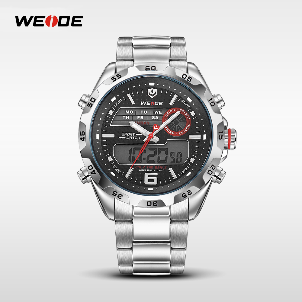 WEIDE Brand Big Dial Watch Full Steel Men Sport Multi-functional Analog Quartz Digital Alarm Stopwatch Clock Hour For Man WH3403