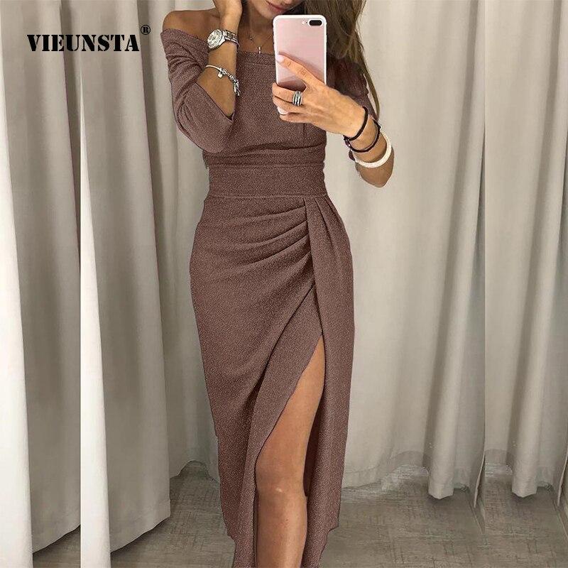 0cd13227b6c Купить Женское сексуальное облегающее платье с вырезом лодочкой и разрезом