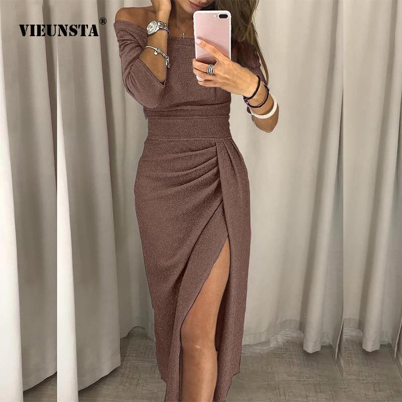 VIEUNSTA Frauen Sexy Slash-Neck Split Bodycon Kleid Herbst Drei Viertel Helle Seide Glänzenden Kleid Taille Mantel Übermaß Kleid