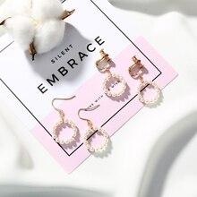 Korean Style Romantic Handmade Pearl Circle Earrings for Women Girls Drop Dangle Earrings Pierced Jewelry Gifts circle fake pearl drop earrings page 7