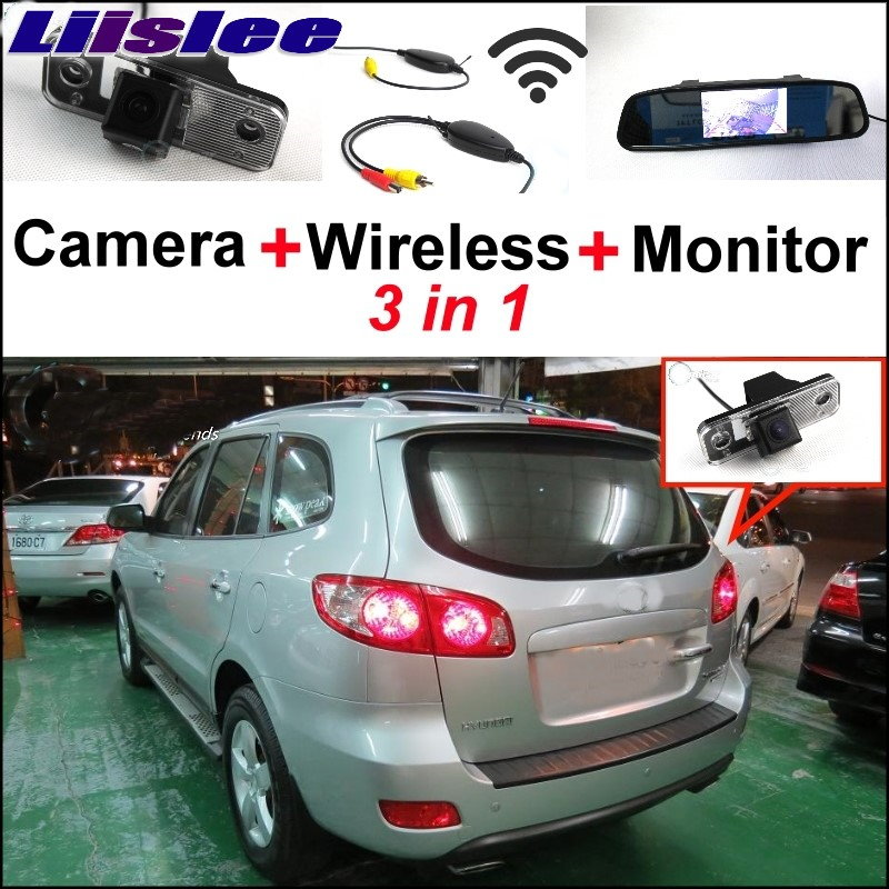 Liislee 3 in1 Special Camera + Wireless Receiver + Mirror Monitor Easy DIY Back Up Parking System For Hyundai Santa Fe 2000~2017 wireless pager system 433 92mhz wireless restaurant table buzzer with monitor and watch receiver 3 display 42 call button