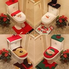 Happy Santa Claus Toilet Seat Cover and Rug Bathroom Set Contour Rug Christmas Decorations for Home Papai Noel Navidad Decor