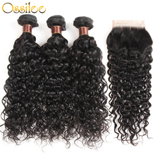 hot deal buy water wave bundles with closure malaysian curly hair bundles with closure human hair 3/4 bundles with closure ossilee remy hair