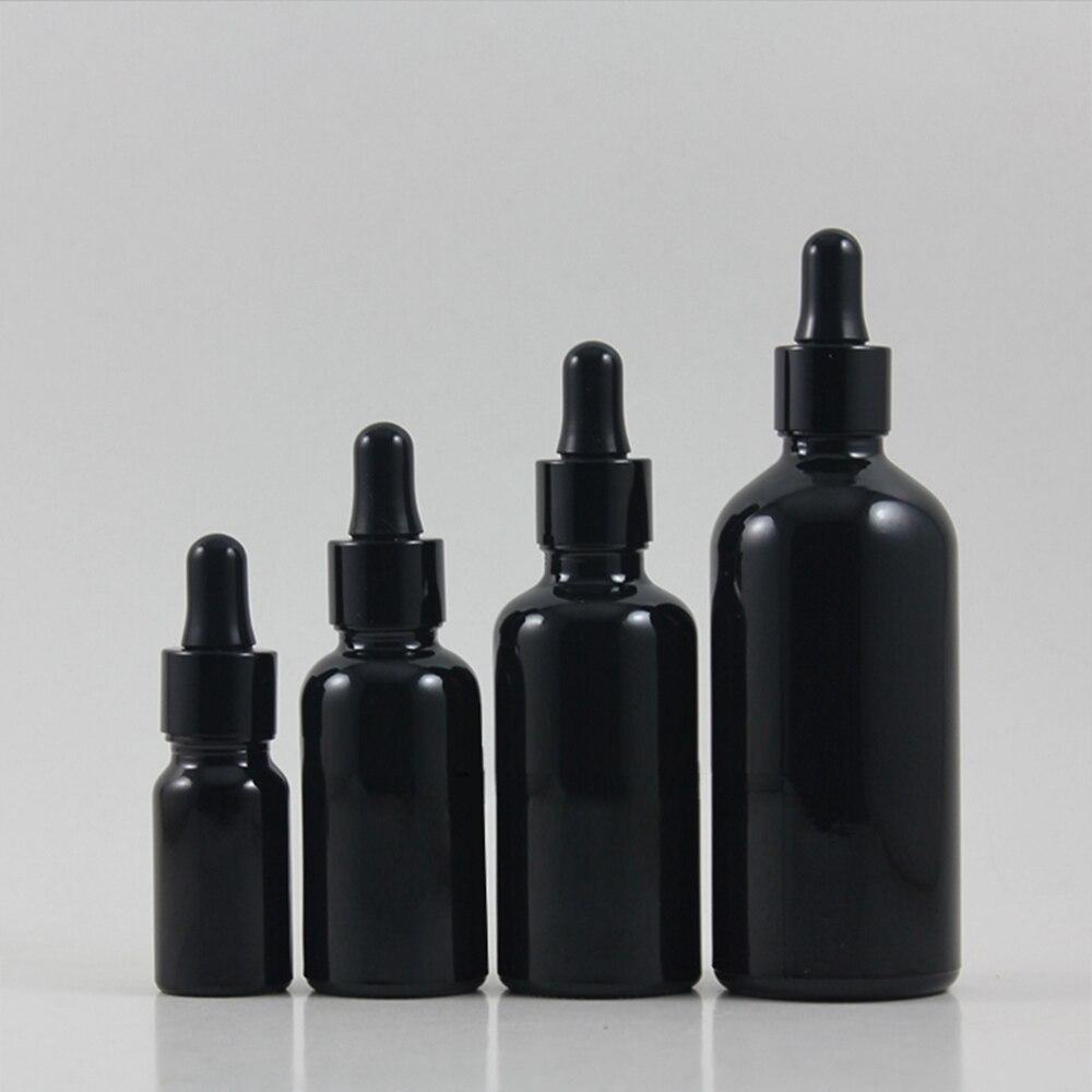 50 pcs 100 ml conta gotas frasco de vidro com tampa conta gotas preto brilhante preto