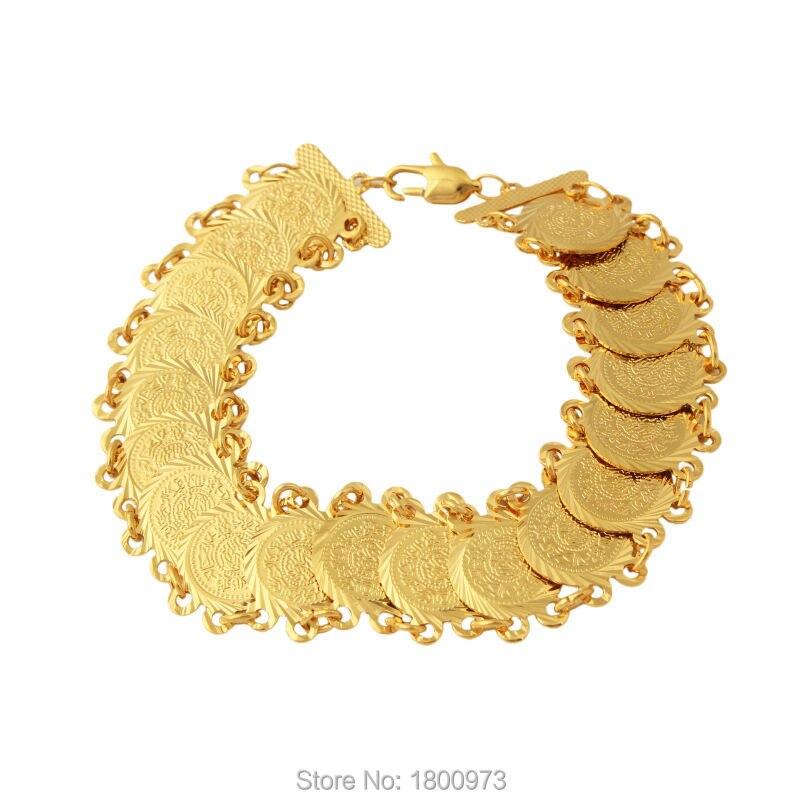 Новый Мода монету браслет. Золото Цвет звено цепи для Для женщин Исламская арабском Ближнем Востоке, африканские Ювелирные Для мужчин бить ...