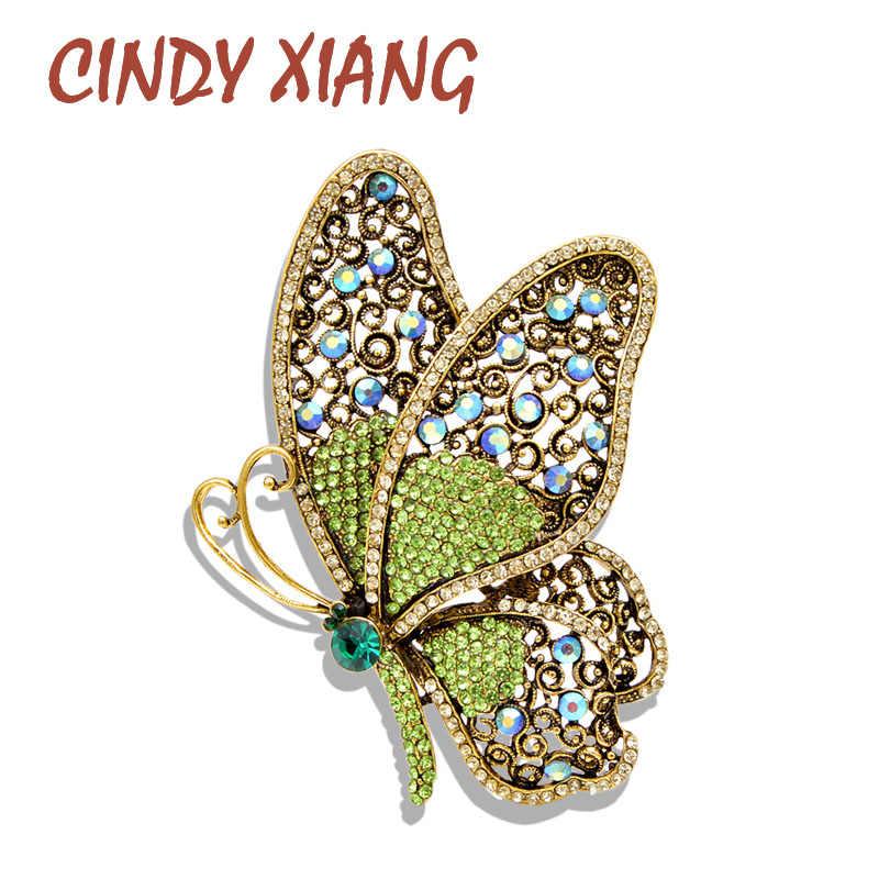 Cindy Xiang 2 Colori Scelgono Della Farfalla Del Rhinestone Spille per Le Donne di Grandi Dimensioni Vintage Elegante Spilli di Cerimonia Nuziale di Modo Del Cappotto Dei Monili Spille