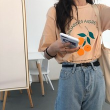 Proste śliczne pomarańczowe drukowane litery bawełniane luźne świeże Vintage College wiatr koszulki damskie z krótkim rękawem tanie tanio Kobiety Topy Tees List REGULAR Dzianiny Poliester COTTON Octeyam O-neck NONE Na co dzień