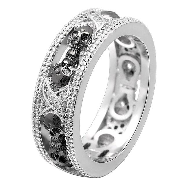 UFOORO HOMENS ANEL preto design Exclusivo anel de caveira moda simples tamanho 5-12 # melhores namorados presente jóias dropshipping