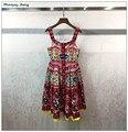 2017 летние женщины бисероплетение печати спагетти ремень dress