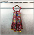 2017 summer women beading print spaghetti strap dress