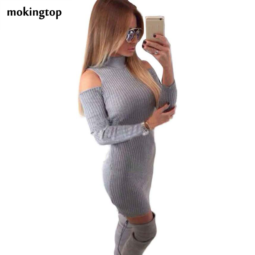 mokingtop Knitted Winter Dresses Women 2016 Off Shoulder Long Sleeve Solid Dress Shealth Slim Mini Dress Vetement Femme#A11