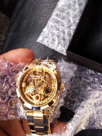 Forsining 2018 Fashion Retro Men's Automatic Mechanical Watch Top Brand Luxury Full Golden Design Luminous Hands Skeleton Clock