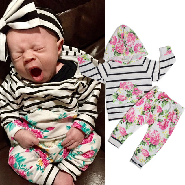 c1049783aa10 Floral Clothing Set Toddler Kids Baby Girls Hooded Pullover Striped Floral  Tops Pants 2pcs Baby Girls Cotton Outfits Sets