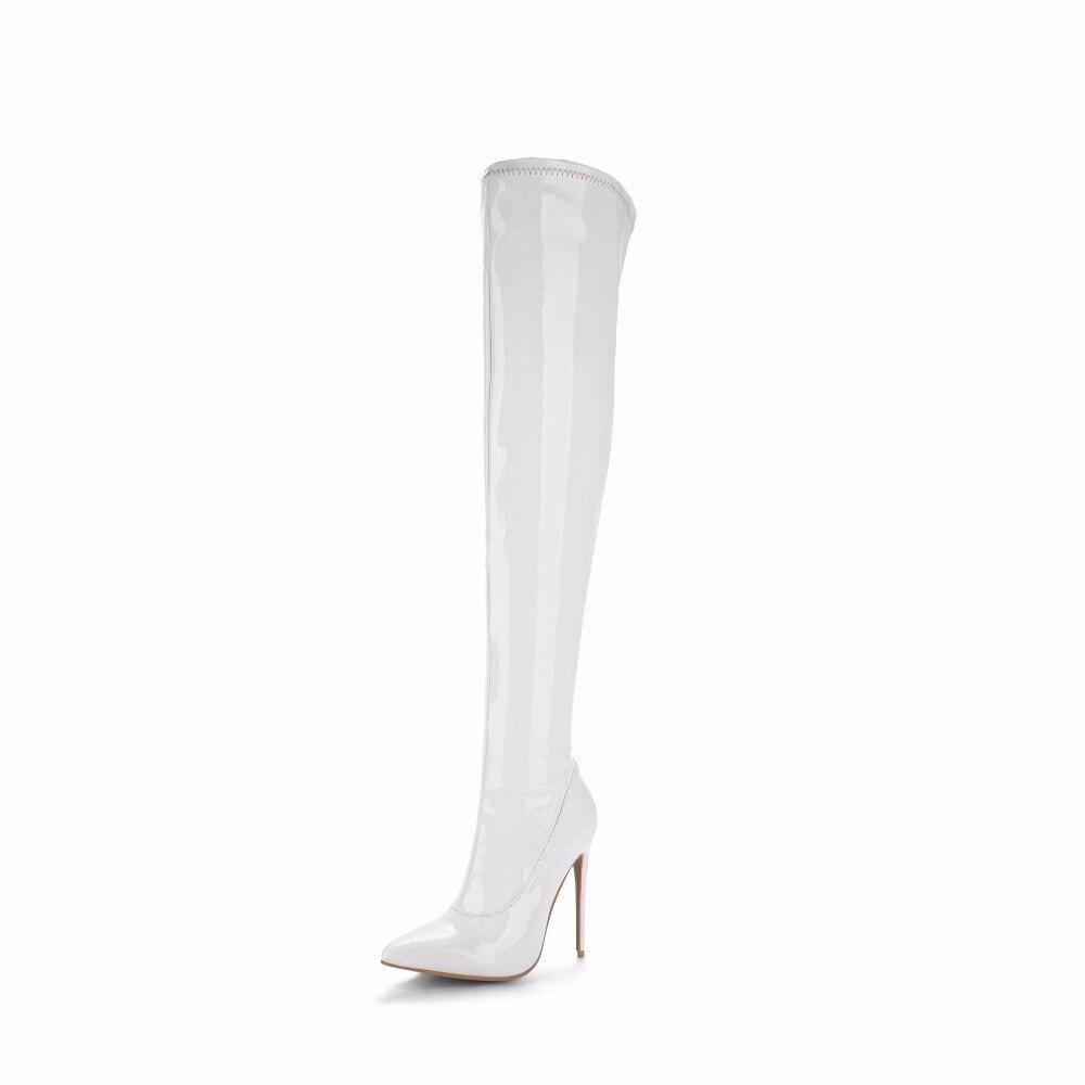 Rojo 2017 Invierno white Blanco Zapatos Muslo Black Alta Sobre Mujer Cm 12 Felpa Sexy red Stilettos Furtado Botas Arden Rodilla Tacones La BI1q55