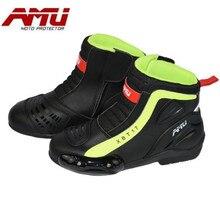 AMU Motorcycle Boots Men Waterproof Moto Motocross Riding Botas Shoes Biker Motorbike Protection