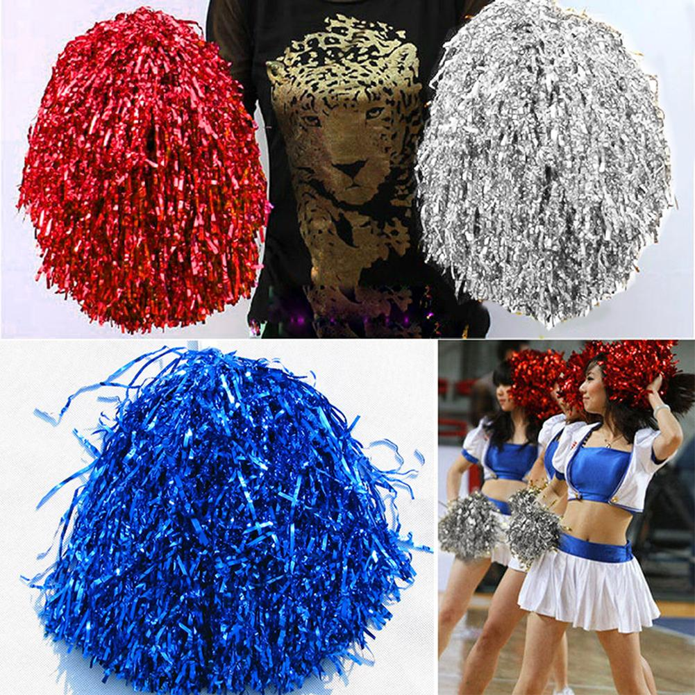1pc Metallic Streamer Pompons Cheerleader Pom Pom Handle Pompoms Ball Cheering Dance Party Sports Match Accessories