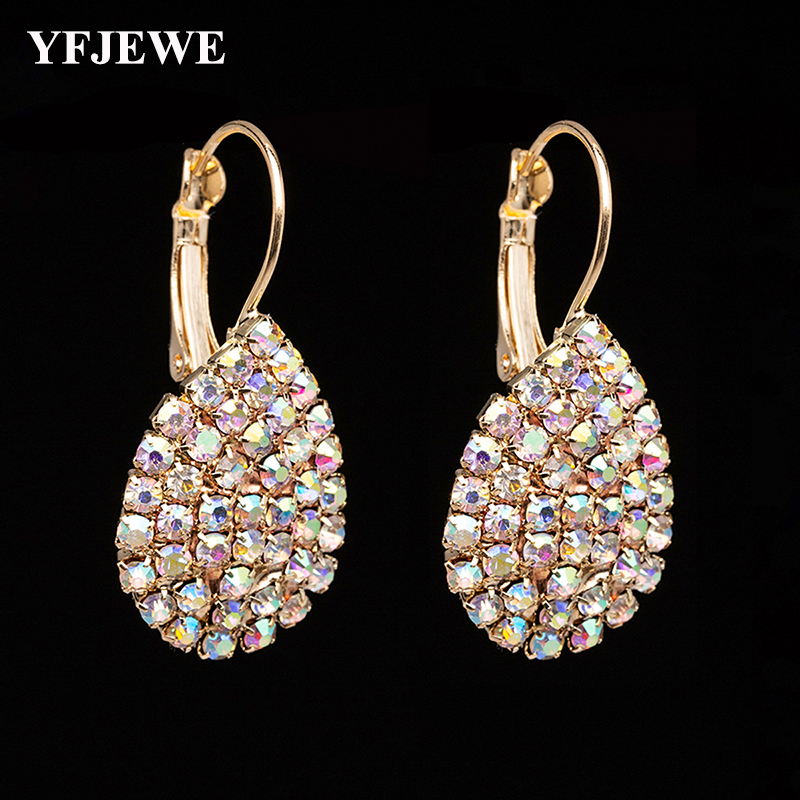 YFJEWE Women Waterdrop Rhinestone Earrings Fashion Crystal Drop Earrings Free Shipping Boucle D'oreille Femme E601