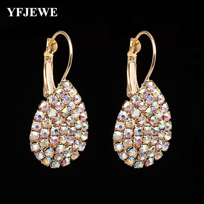 YFJEWE Women Waterdrop Rhinestone Earrings Fashion Crystal Drop Earrings Free Shipping Boucle D'oreille Femme E601