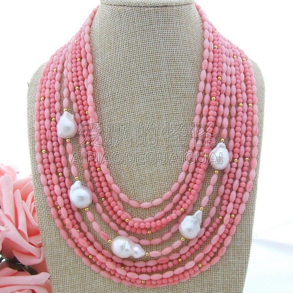 N051100 Pink Coral White Keshi Pearl 18