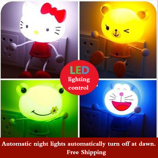 M 5pc/Lot Creative Energy Saving Night Light Cartoon LED Light Control Night Light Cute Colorful Bedroom Baby Bedside Lamp