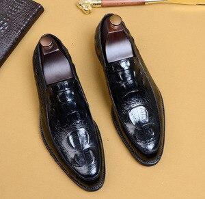 Image 5 - QYFCIOUFU 2019 hommes Crocodile chaussures Slip on robe chaussure pour homme en cuir véritable mariage bureau fête à la main Oxford chaussures EU 46
