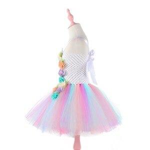 Image 5 - Moeble Flower Unicorn tutu Dresses girls with headband Halloween Christmas Cosplay Costume Children Kids Birthday party dresses