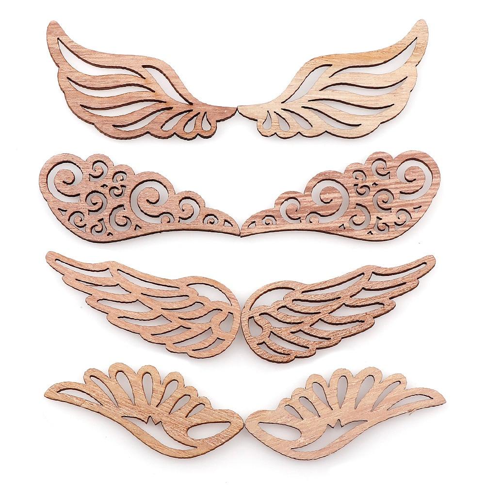 40 штук пакет 4 вида стилей DIY Крылья Ангела деревянные чипы декоративные украшения Альбом для вырезок для рукоделия ручная работа граффити кнопки аксессуары
