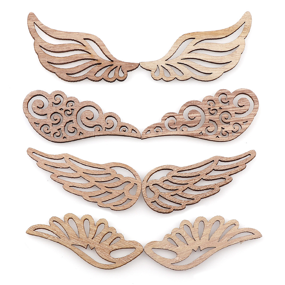 40Pcs/bag 4 Styles DIY Angel Wings Wooden Chips Decorative Embellishments Crafts Scrapbook Hand-made Graffiti Button Accessories