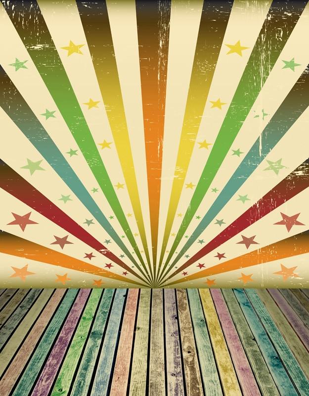 Custom Vinyl Cloth Retro Stars Wallpaper Stage Wood Floor