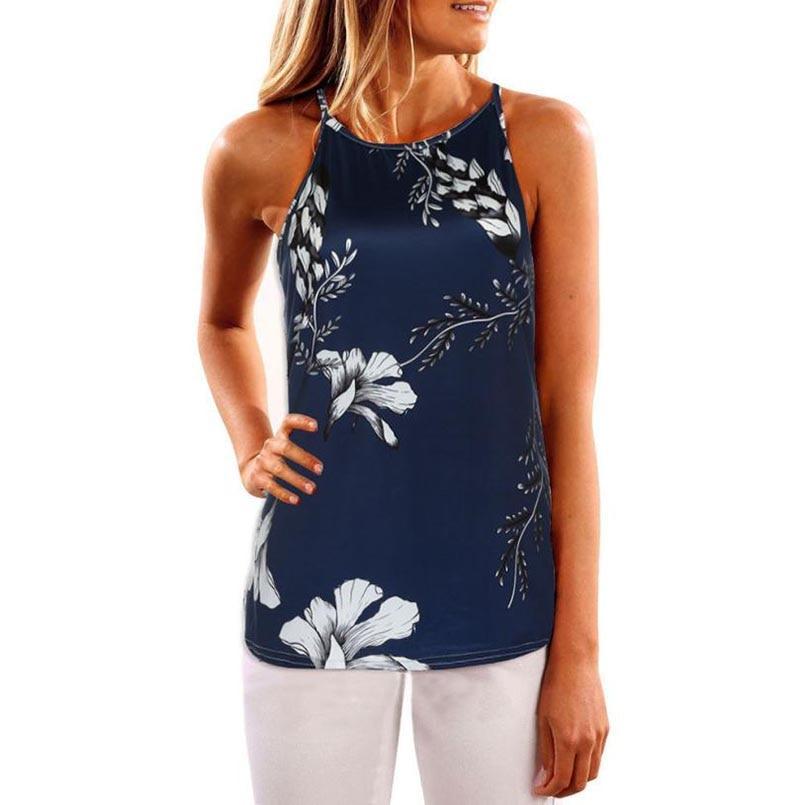 FEITONG 2017 Women Summer Blue Vintage Floral Print Vest Sleeveless Shirt Blouse Casual Shirt