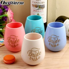 OurWarm Foldable Silicone Wine Glass Cup Soft Drinking Water Cups Party Home Outdoor Use Hawaiian Bachelorette Bridal Show
