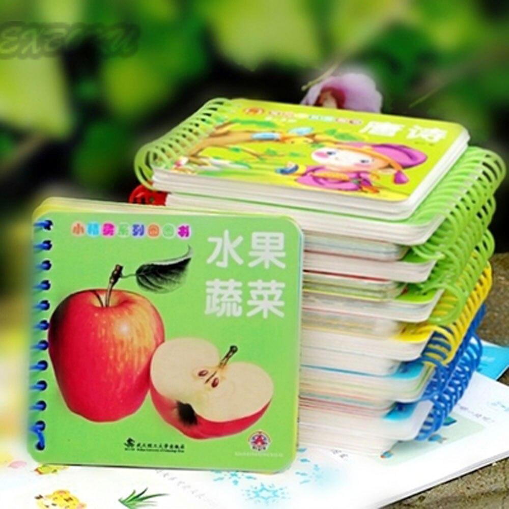10 шт./компл. детей китайский обучения карт фотографии книги с пиньинь Английский Китайский иероглиф книга hanzi Фрукты животных люди карты