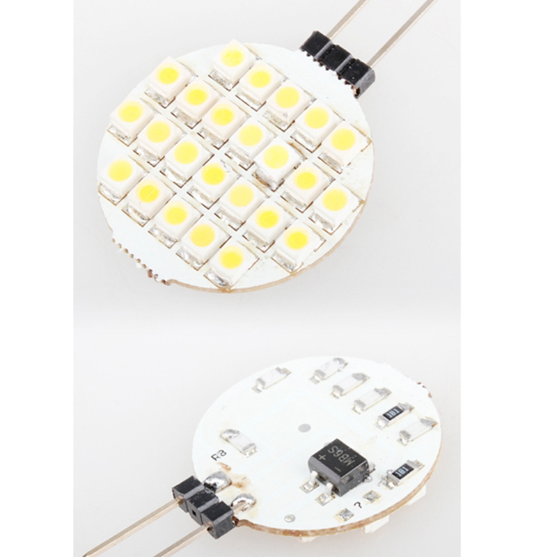 Car-styling G4 24SMD LED Warm White Marine Light Bulb DC 12V Auto Truck Boat RV Light-emitting Diode Round Interior Lamp Panel