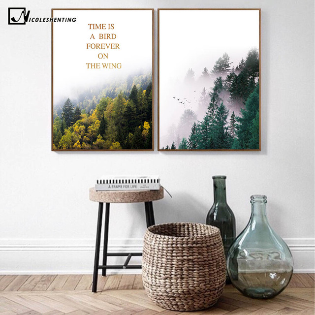 Nordic Style Forest Landscape Poster Print Motivational Quote Minimalist  Wall Art Canvas Painting Scandinavian Modern Home